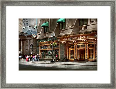 Framed Print featuring the photograph City - Ma Boston - Meet Me At The Omni Parker Clock by Mike Savad