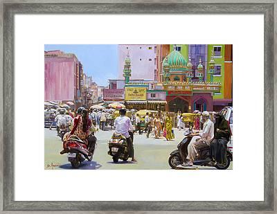 City Market In Bangalore, India Framed Print by Dominique Amendola