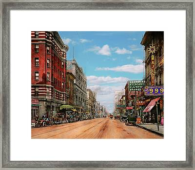 Framed Print featuring the photograph City - Memphis Tn - Main Street Mall 1909 by Mike Savad