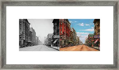 Framed Print featuring the photograph City - Memphis Tn - Main Street Mall 1909 - Side By Side by Mike Savad