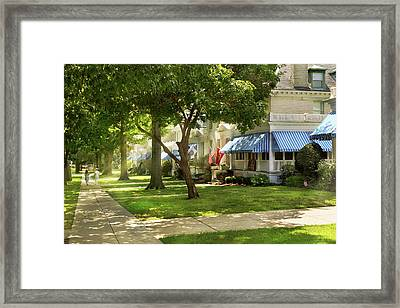 Framed Print featuring the photograph City - Naval Academy - A Walk Down Captains Row by Mike Savad