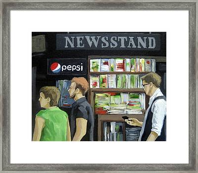 City Newsstand - People On The Street Painting Framed Print