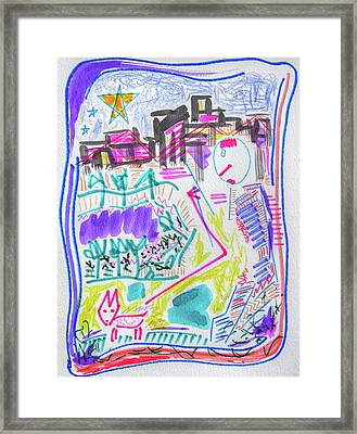 City Night Dog Walk  Framed Print