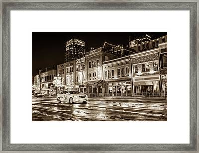 City Nights Sepia - Neon Lights On Lower Broadway - Nashville Tennessee Framed Print