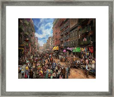 City - Ny - Flavors Of Italy 1900 Framed Print by Mike Savad