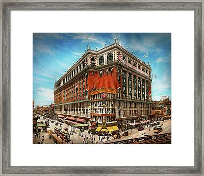 Framed Print featuring the photograph City - Ny New York - The Nation's Largest Dept Store 1908 by Mike Savad