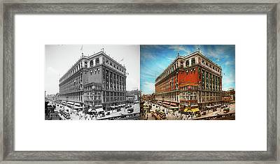 Framed Print featuring the photograph City - Ny New York - The Nation's Largest Dept Store 1908 - Side by Mike Savad