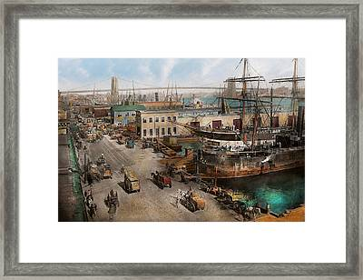 City - Ny - South Street Seaport - 1901 Framed Print by Mike Savad