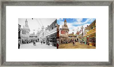 City - Ny - The Great Steeplechase 1903 - Side By Side Framed Print by Mike Savad