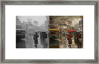 City - Ny - Times Square On A Rainy Day 1943 Side By Side Framed Print by Mike Savad
