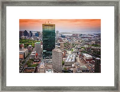 City Of Boston Reflected  Framed Print