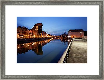 City Of Gdansk By Night In Poland Framed Print
