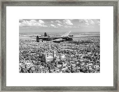 Framed Print featuring the photograph City Of Lincoln Vn-t Over The City Of Lincoln Bw Version by Gary Eason