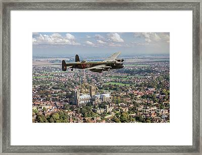 Framed Print featuring the photograph City Of Lincoln Vn-t Over The City Of Lincoln by Gary Eason