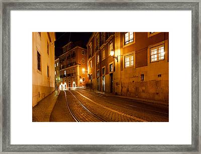 City Of Lisbon By Night In Portugal Framed Print by Artur Bogacki