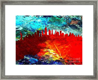 City Of New York Grunge Framed Print