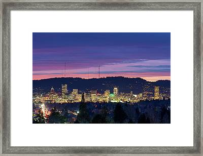 City Of Portland Oregon Skyline At Twilight Framed Print by David Gn