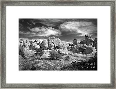 Framed Print featuring the photograph City Of Rocks And Sky by Martin Konopacki