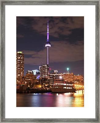 City Of Toronto At Night Framed Print by Oleksiy Maksymenko