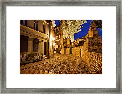 City Of Torun At Night Framed Print