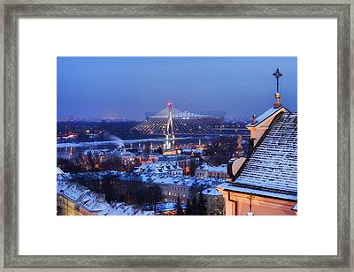 City Of Warsaw Winter Evening Cityscape Framed Print