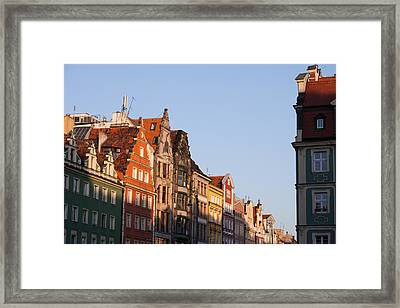City Of Wroclaw Old Town Skyline At Sunset Framed Print