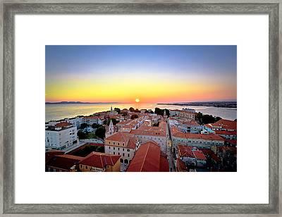 City Of Zadar Skyline Sunset View Framed Print