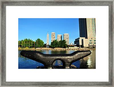 City On A Bollard Framed Print by Andrew Dinh