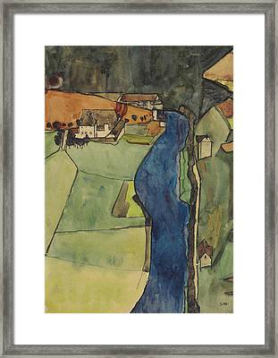 City On The Blue River Framed Print by Egon Schiele
