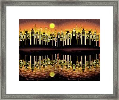 City On The River Framed Print