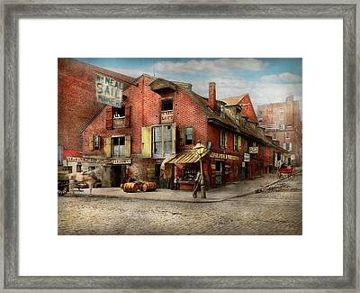 Framed Print featuring the photograph City - Pa - Fish And Provisions 1898 by Mike Savad