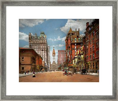 Framed Print featuring the photograph City - Pa Philadelphia - Broad Street 1905 by Mike Savad