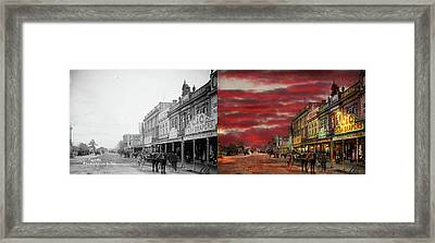 Framed Print featuring the photograph City - Palmerston North Nz - The Shopping District 1908 - Side By Side by Mike Savad