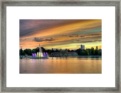 City Park Fountain At Sunset Framed Print