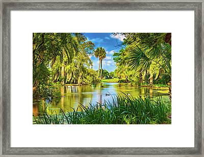 City Park Lagoon 3 - Paint Framed Print by Steve Harrington
