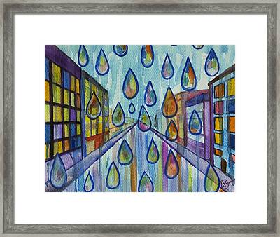 City Rain Framed Print