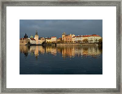 Framed Print featuring the photograph City River Reflections - Prague by Stuart Litoff