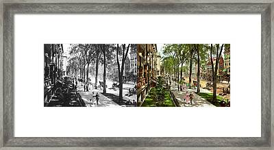 Framed Print featuring the photograph City - Saratoga Ny -  I Would Love To Be On Broadway 1915 - Side By Side by Mike Savad