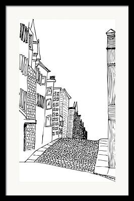 Cobble Stones Drawings Framed Prints
