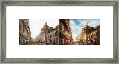 Framed Print featuring the photograph City - Scotland - Tolbooth Operator 1865 - Side By Side by Mike Savad