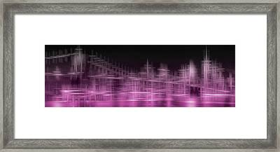 City Shapes Manhattan Skyline And Brooklyn Bridge - Pink Framed Print