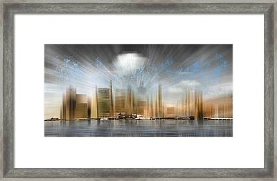 City Shapes Manhattan Skyline - Panoramic Framed Print