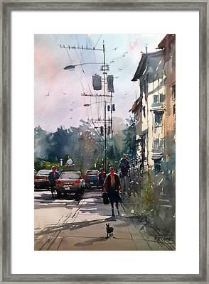 City Sidewalk Framed Print