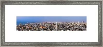 City Skyline At Night Framed Print by Noam Armonn