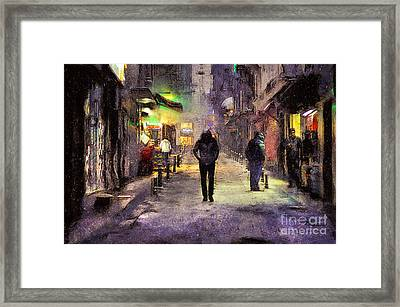 City Snow Walk Framed Print by Ian Mitchell