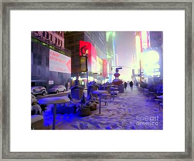 City Snowfall Framed Print