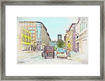 City Street Framed Print by Marvin C Brown