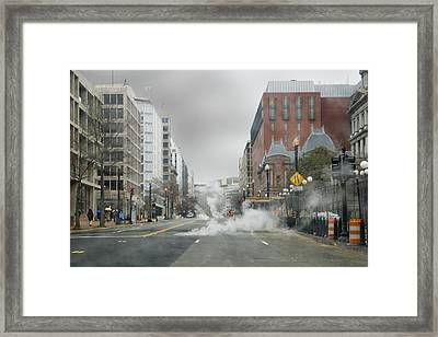 Framed Print featuring the photograph City Street On A Rainy Day by Francesa Miller