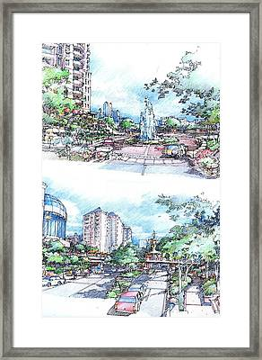 Framed Print featuring the drawing  City Street Scene by Andrew Drozdowicz
