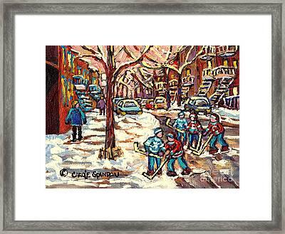 City Streets Of Montreal Winter Hockey Scene After The Snowfall Original Canadian Art Carole Spandau Framed Print